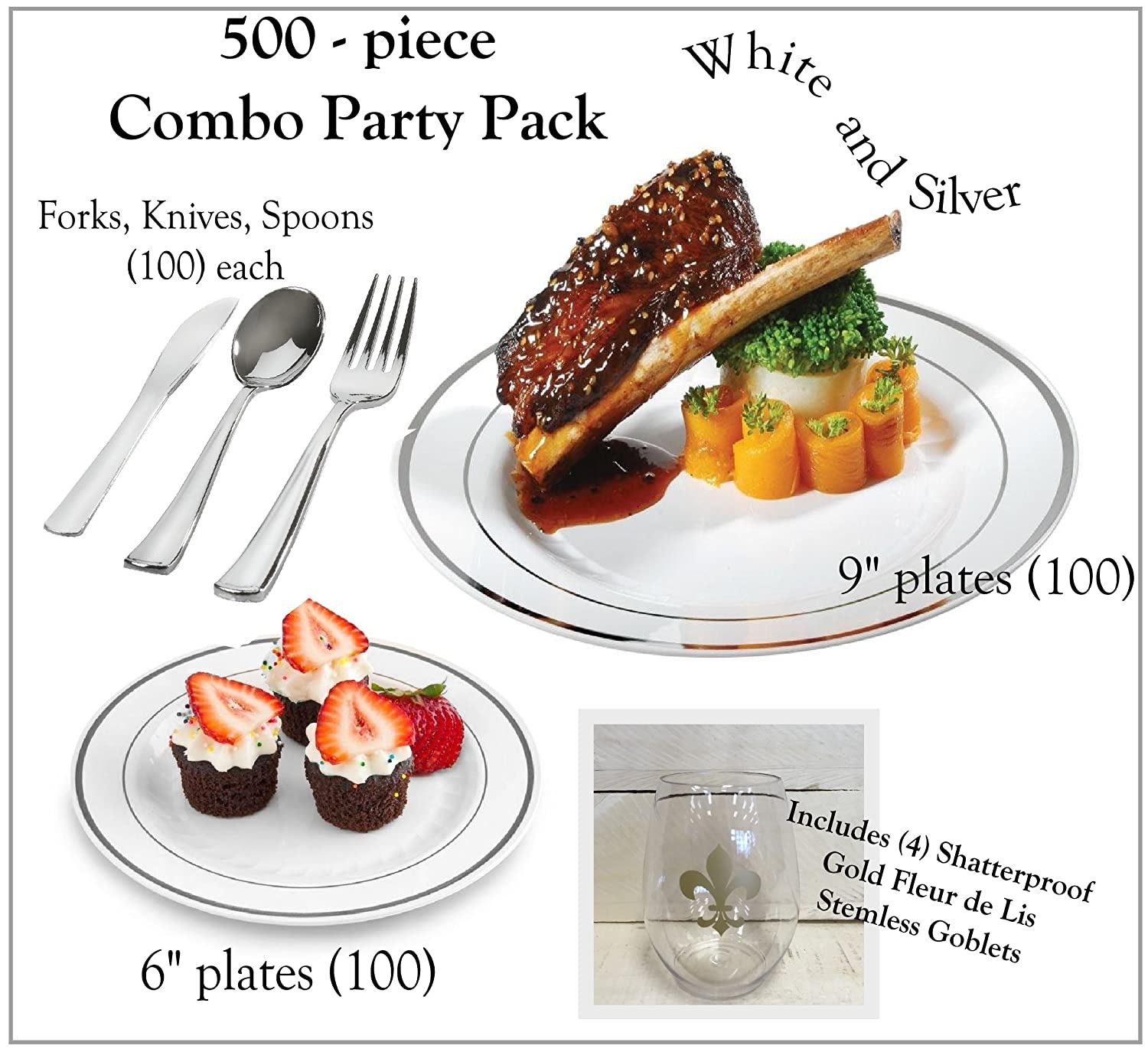 Amazon.com: 500 Pieces Plastic China Plate Silverware Combo for 100 ...