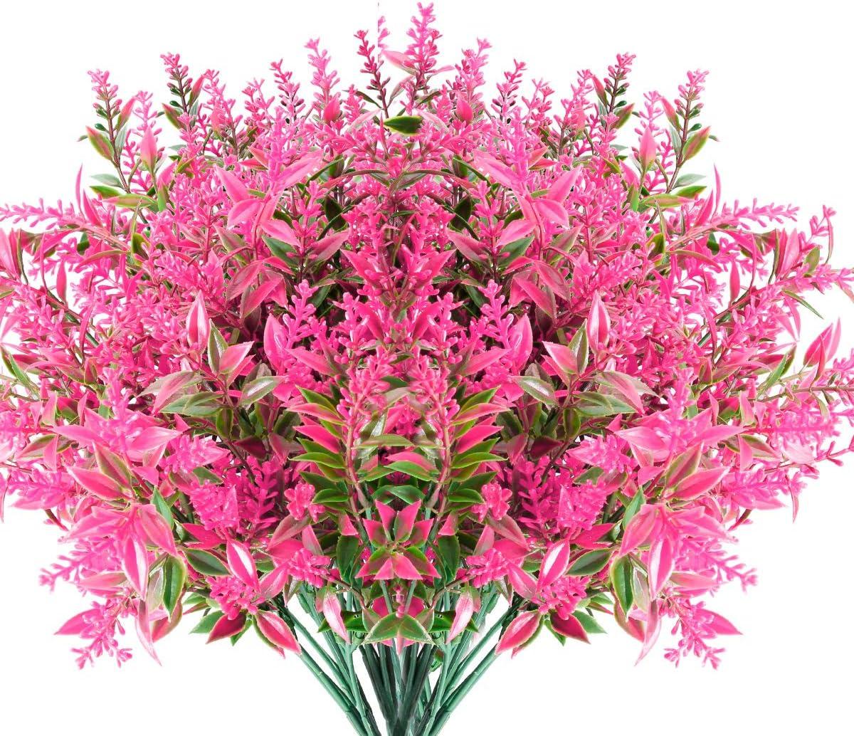 JEMONG 8 Bundles Artificial Lavender Flowers Outdoor UV Resistant Fake Flowers No Fade Faux Plastic Plants Garden Porch Window Box Decorating (Pink)
