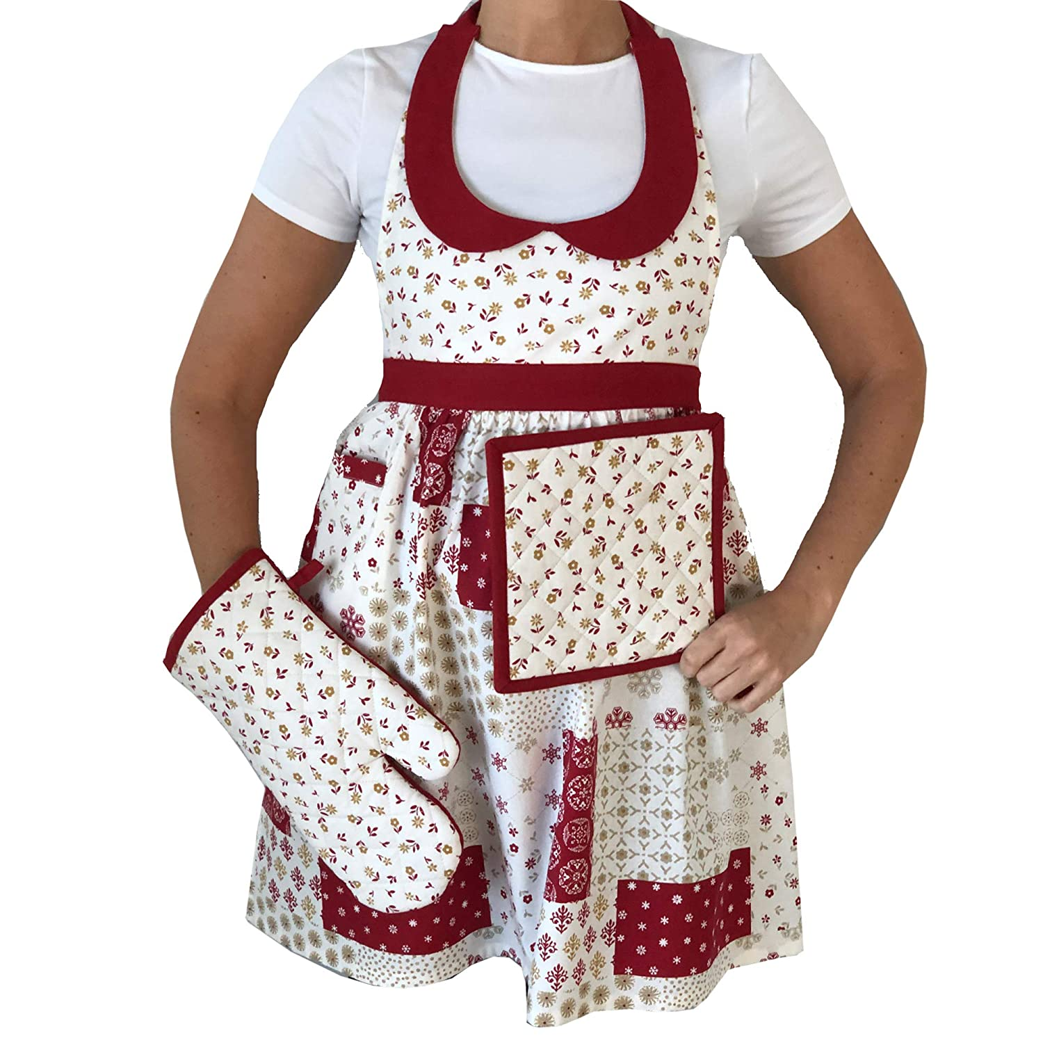 Lintex Snowflakes Christmas Apron, Pot Holder and Oven Mitt Set - Red and Gold Xmas Holiday Cotton Apron with Pocket and Heat Resistant Oven Mitt and Pot Holder Set, 3 Piece Women's Apron Set