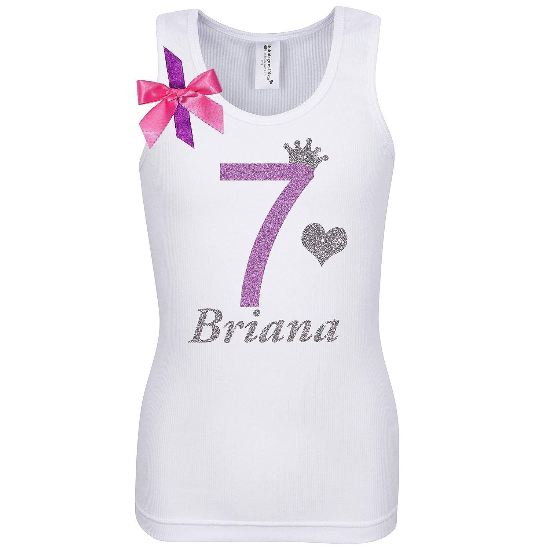 f84ba630f59ae Amazon.com: 7th Birthday Shirt Glitter Seven Rainbow T-Shirt Tank Top  Custom Name Age 7 Girls Party Gift: Handmade