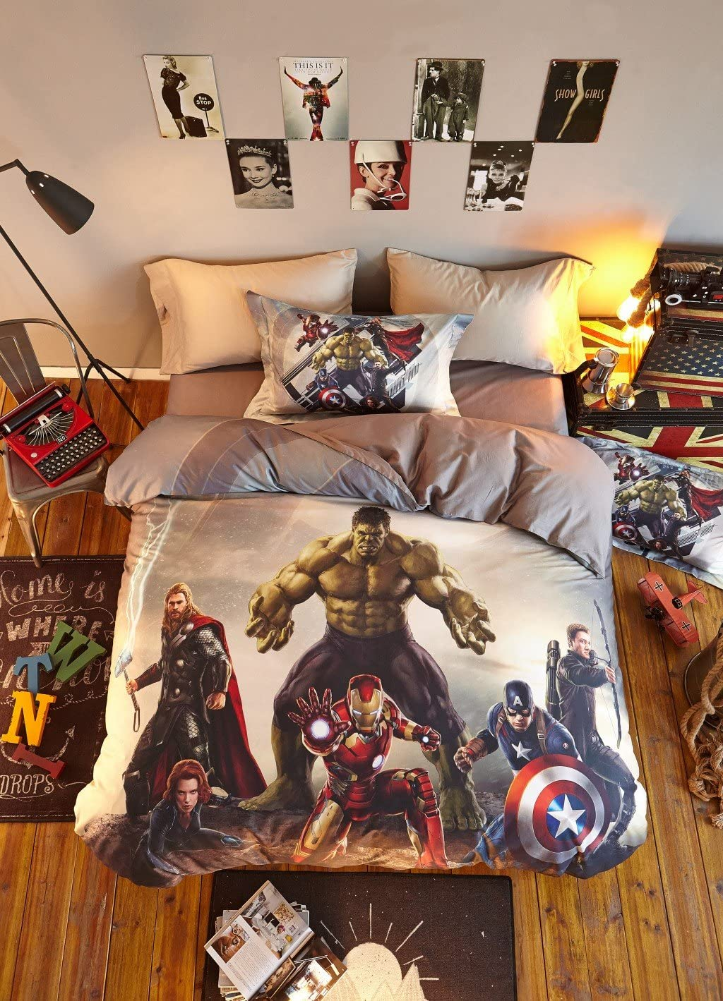 Haru Homie Luxurious 100% Cotton Duvet Cover 3D Avengers Kids Reversible Bedding Set with Zipper Closure - Comfortable, Fade Resistant and Extremely Durable, Full/Queen