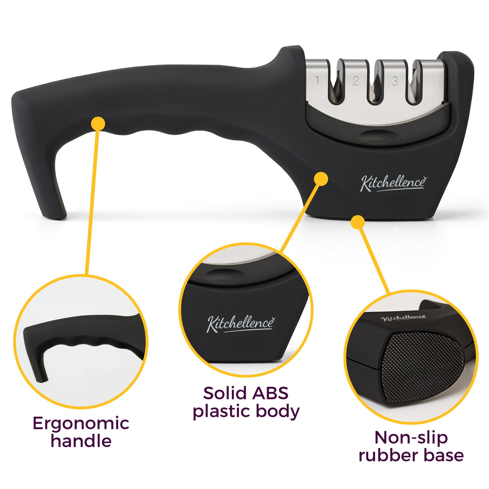 Kitchen Knife Sharpener - 3-Stage Knife Sharpening Tool Helps Repair, Restore and Polish Blades - Cut-Resistant Glove Included (Black) by Kitchellence (Image #3)