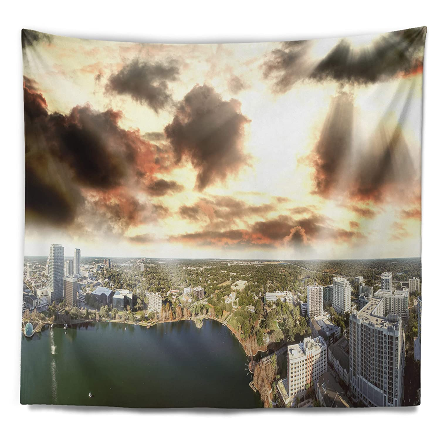 60 in x 50 in Created On Lightweight Polyester Fabric Designart TAP10846-60-50  Downtown Orlando Sunset Aerial Seascape Blanket D/écor Art for Home and Office Wall Tapestry Large