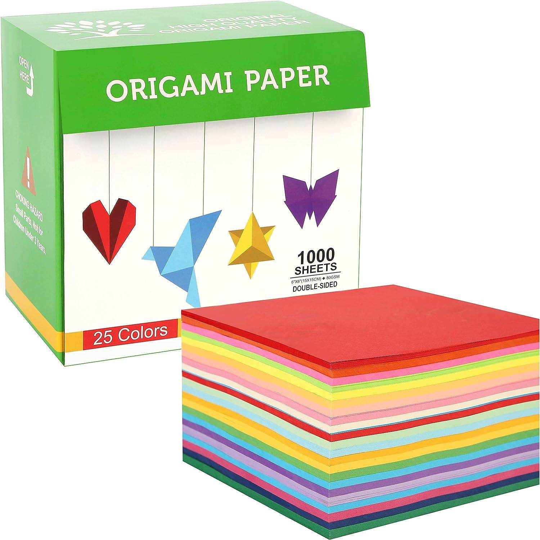 Papel Para Origami, 1000 Hojas Cuadradas De 15cm, 25 Colores