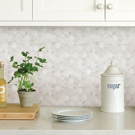 In Home Nh2359 Hexagon Faux Marble Peel Stick Backsplash Tiles White Off White Amazon Com