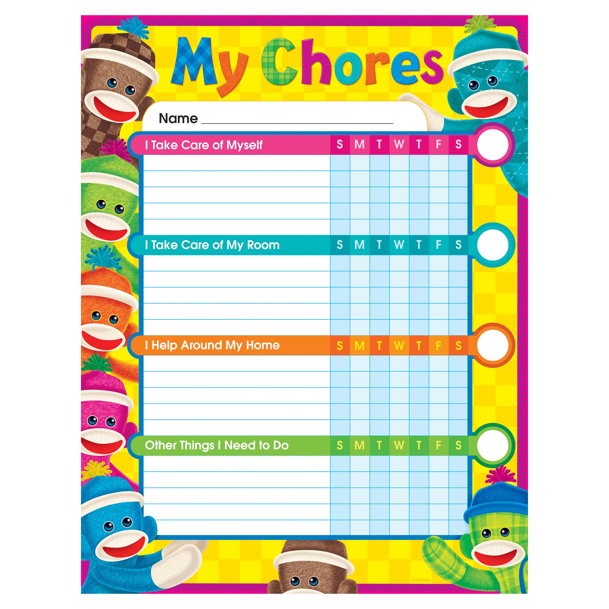 TREND enterprises, Inc. T-73145BN Sock Monkeys Chore Charts, 25 Per Pack, Pack of 6