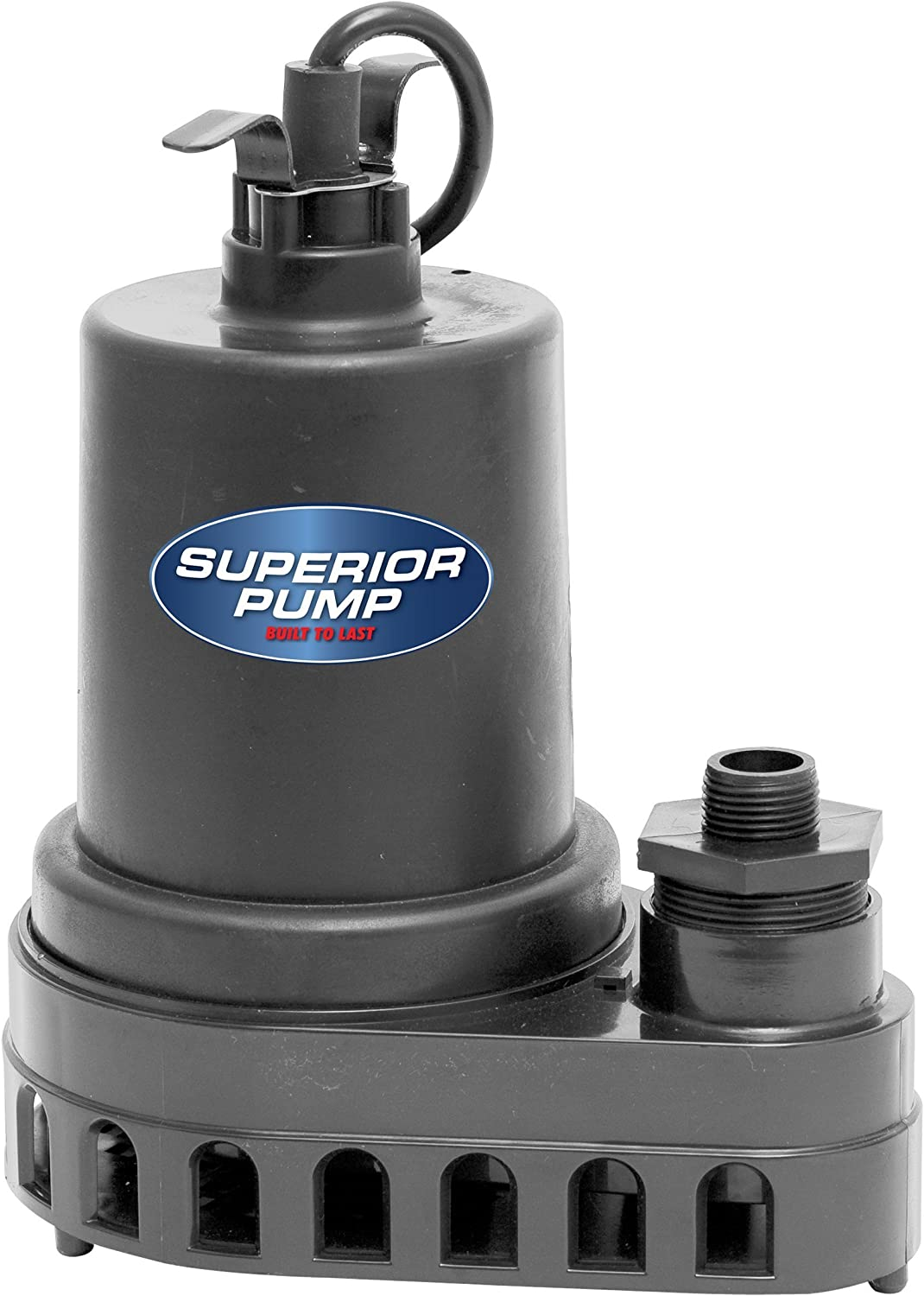 Superior Pump 92370 1/2 HP Thermoplastic Side-Discharge Sump Pump, Float Switch (Renewed)