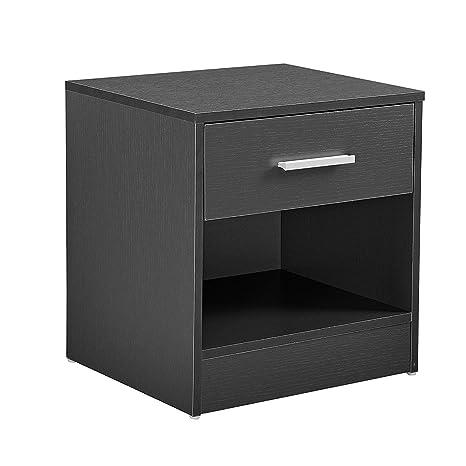 [en.casa]® Mesilla de noche elegante gris moderna 1 cajón & 1 balda aglomerado