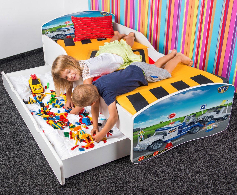 Neuf Bebe Toddler Lits Pour Enfants + matelas Banbao + Tiroir 140 X 70 CM 160 X 80 CM 180 X 80 CM (160 x 80 cm 3 à 8 ans, fire-brigade-3 (barrier)) Nobiko