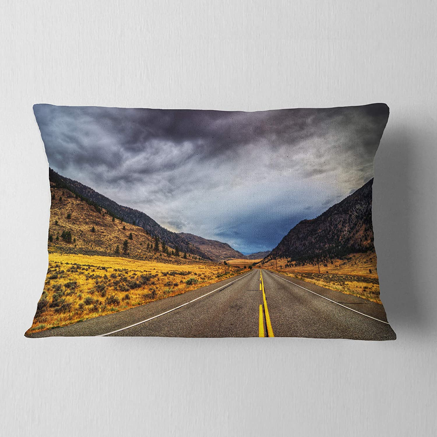 Designart CU14399-12-20 Mountain Desert Highway British Columbia Landscape Printed Lumbar Cushion Cover for Living Room in Sofa Throw Pillow 12 in x 20 in Insert Side