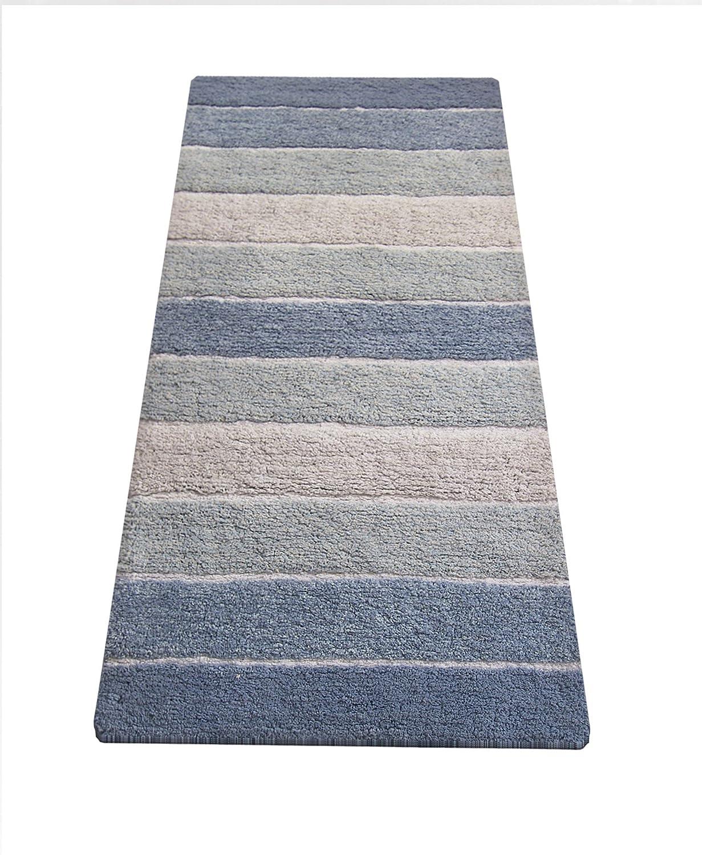 "Chardin home Cordural Stripe Bath Runner, Blues with Latex Spray Non-Skid Backing, 24"" W x 60"