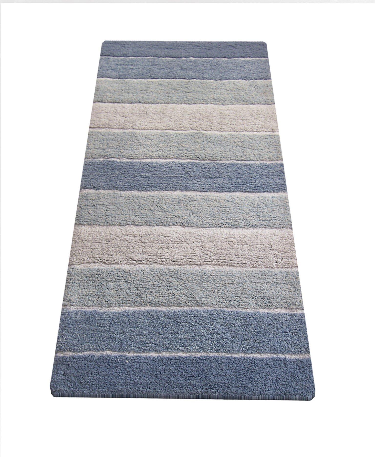 Chardin home Cordural Stripe Bath Runner, Blues with Latex Spray Non-Skid Backing, 24'' W x 60'' L