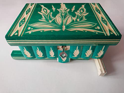Caja puzzle joyero mágica tesoro verde misterio de almacenamiento ...