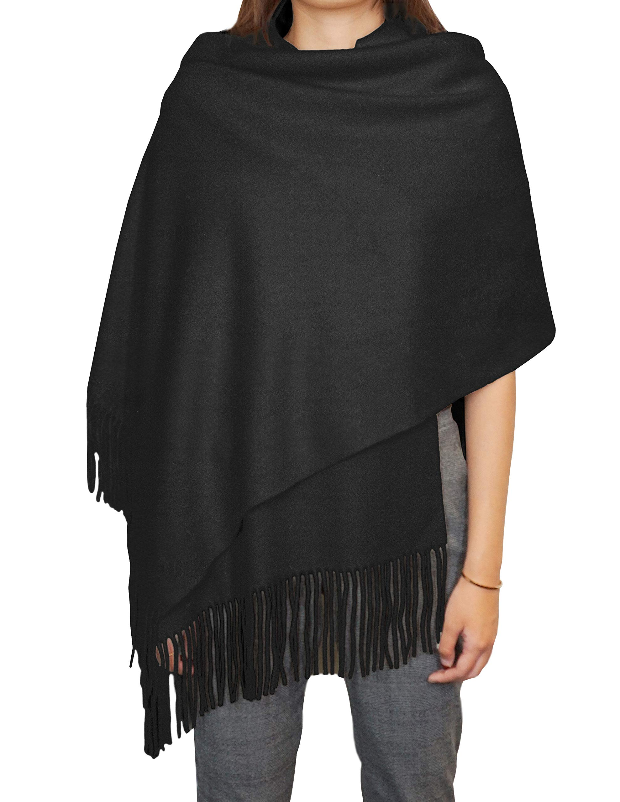 State Cashmere Unisex 100% Cashmere Fringe Solid Color Shawl Wrap Scarf 28'' x 76'' + 4'' x 2 by State Cashmere