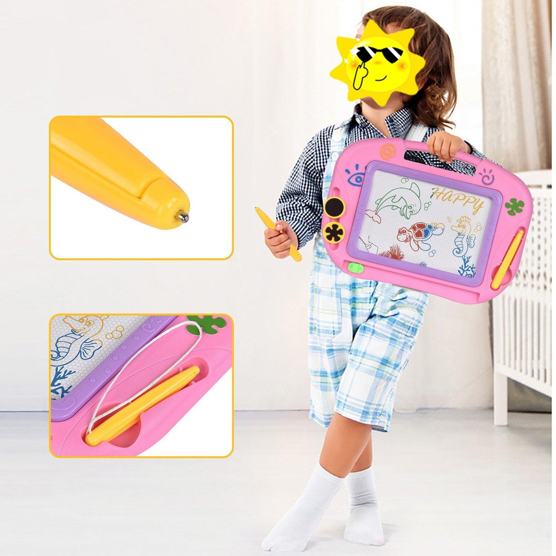 TTMOW Pizarras Mágicas Colorido con Pluma, Almohadilla Borrable de Escritura y Dibujo, Juguetes Educativos para 3 niños 4 años 5 años 6 años (Rosa)