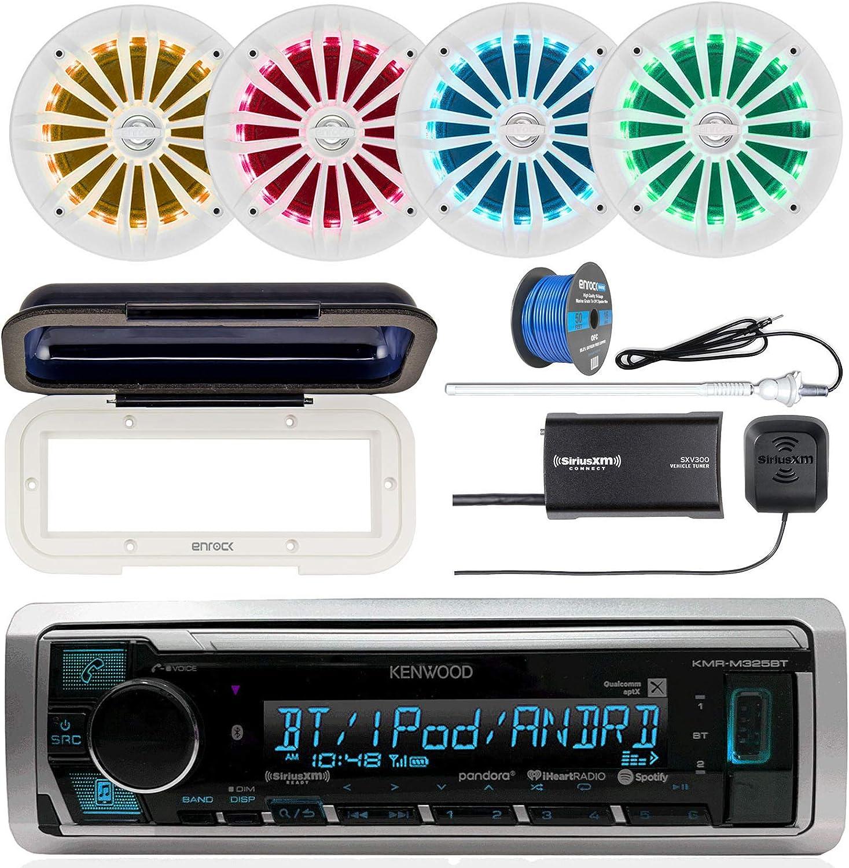 Single DIN Radio Cover Radio Antenna White 4X Enrock 6.5 2 Way 180W LED Speakers Kenwood KMR-M325BT Marine Bluetooth Receiver SiriusXM Tuner 50 Foot 16-G Tinned Speaker Wire White