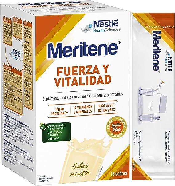 Meritene® FUERZA Y VITALIDAD - Suplementa tu nutrición y mantén tu sistema inmune con vitaminas, minerales y proteínas- Batido de Vainilla - Estuche ...