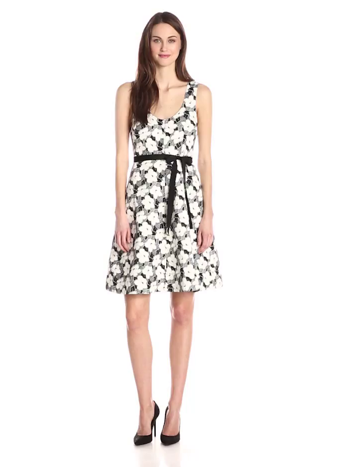 Plenty by Tracy Reese Women's Mona Sleeveless Tank Fit and Flare Dress, Deco Floral, 12
