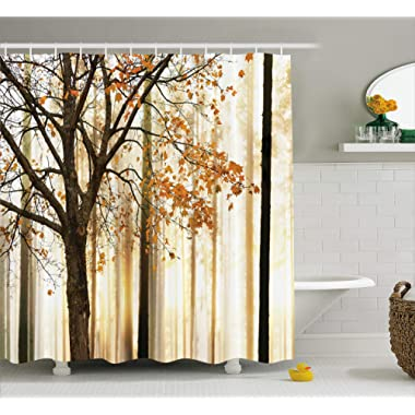 Ambesonne Shower Curtain Fall Trees Print Mom Gift Ideas Polyester Fabric Hooks Included, Brown Beige