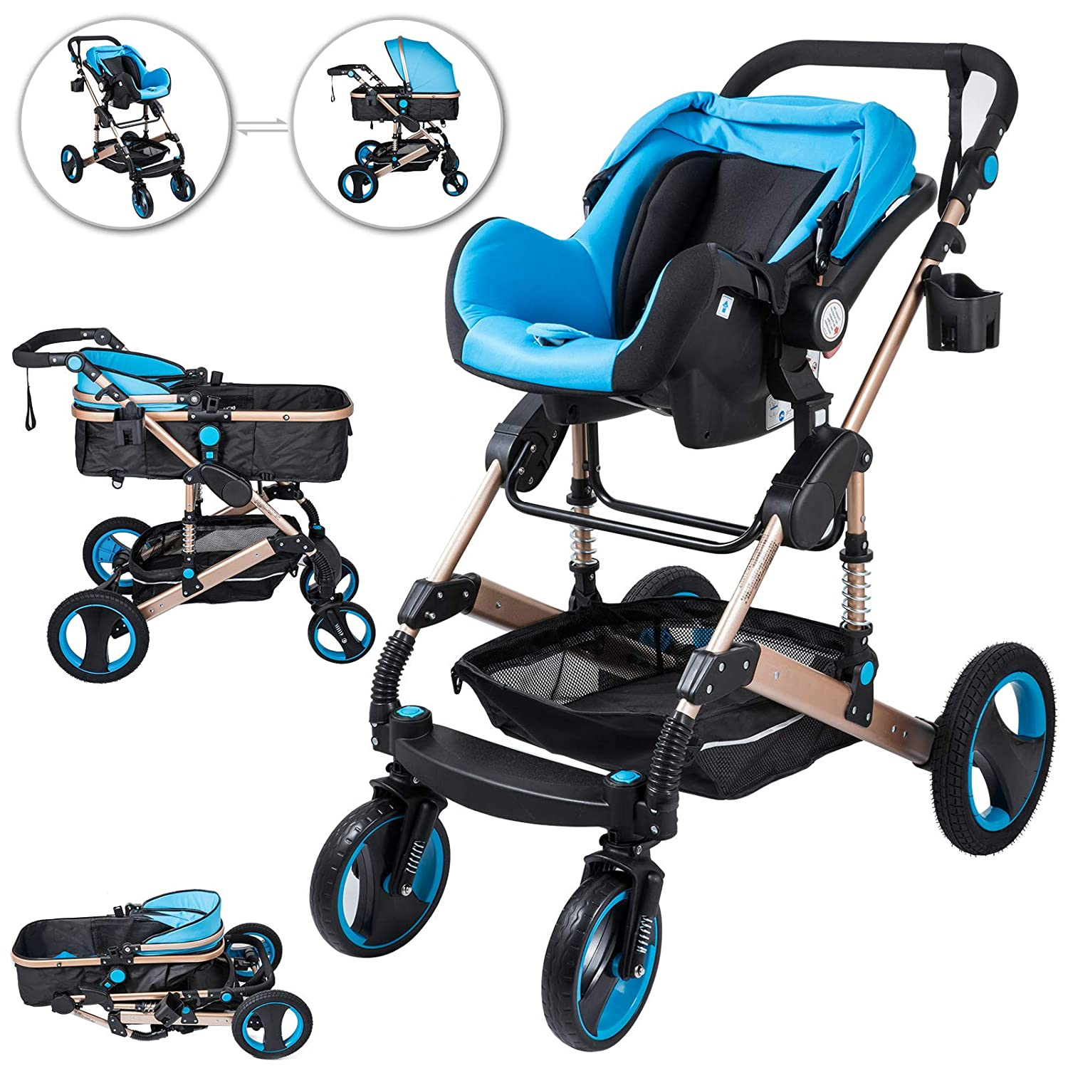 Happybuy 3 in 1 Stroller Blue Foldable Luxury Baby Stroller Anti-Shock Springs High View Pram Baby Stroller 3 in 1 with Baby Basket No Base