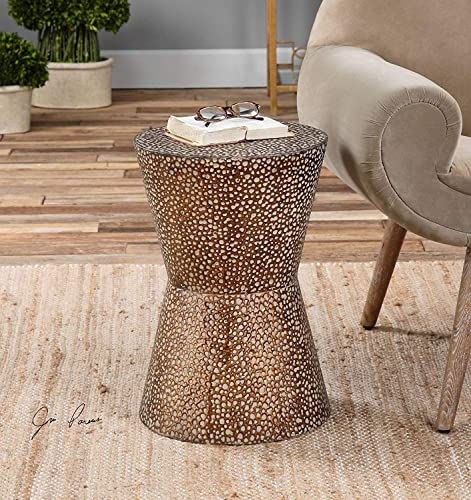 MY SWANKY HOME Modern Copper Bronze Drum Table Pierced Hammered Metal End Round