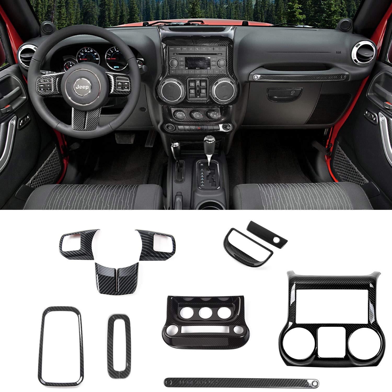 Jeep Wrangler Interior >> Rt Tcz Carbon Fiber Interior Decoration Trim Kit Trim For Jeep Wrangler Jk Jku 2011 2017 4 Door 10pcs