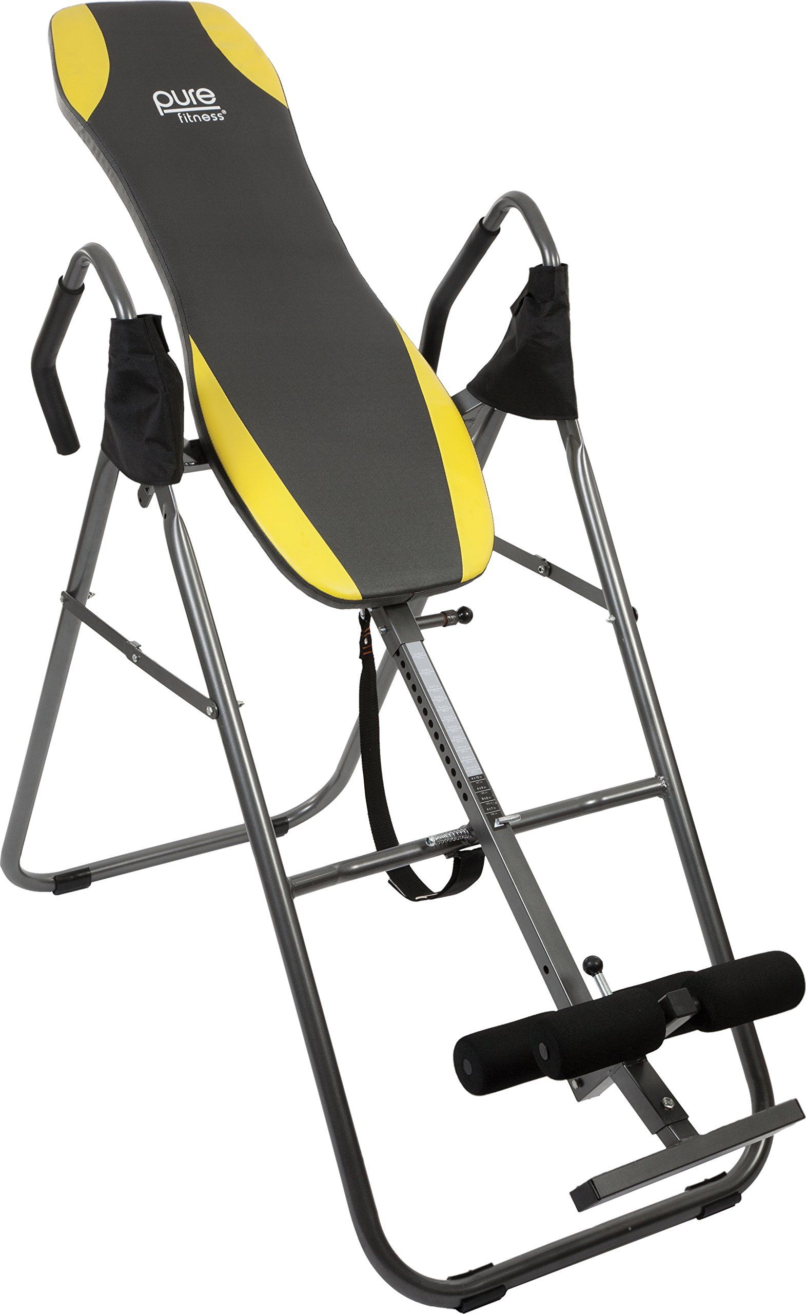 Pure Fitness Gravity Inversion Therapy Table: Adjustable Folding Table, Yellow/Black