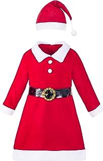 e9551b53c92 Amazon.com  Sunny Fashion Girls Dress Christmas Hat Red Velvet Long ...
