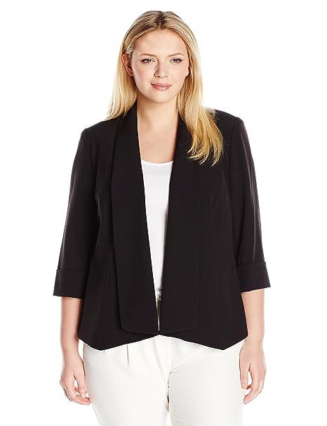 Kasper Womens Plus Size Stretch Crepe Flyaway Jacket