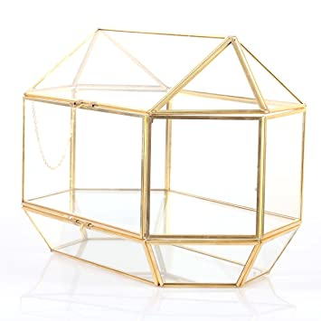 Large Geometric Glass Wedding Card Box Keepsake Recipe Reception Envelope Holder Display Gift