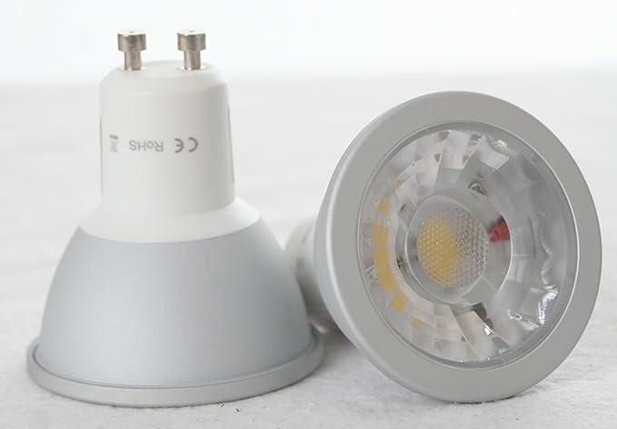 8 x bombilla LED COB 540 lumens GU10, 6 Watt, 540 lumens, luz