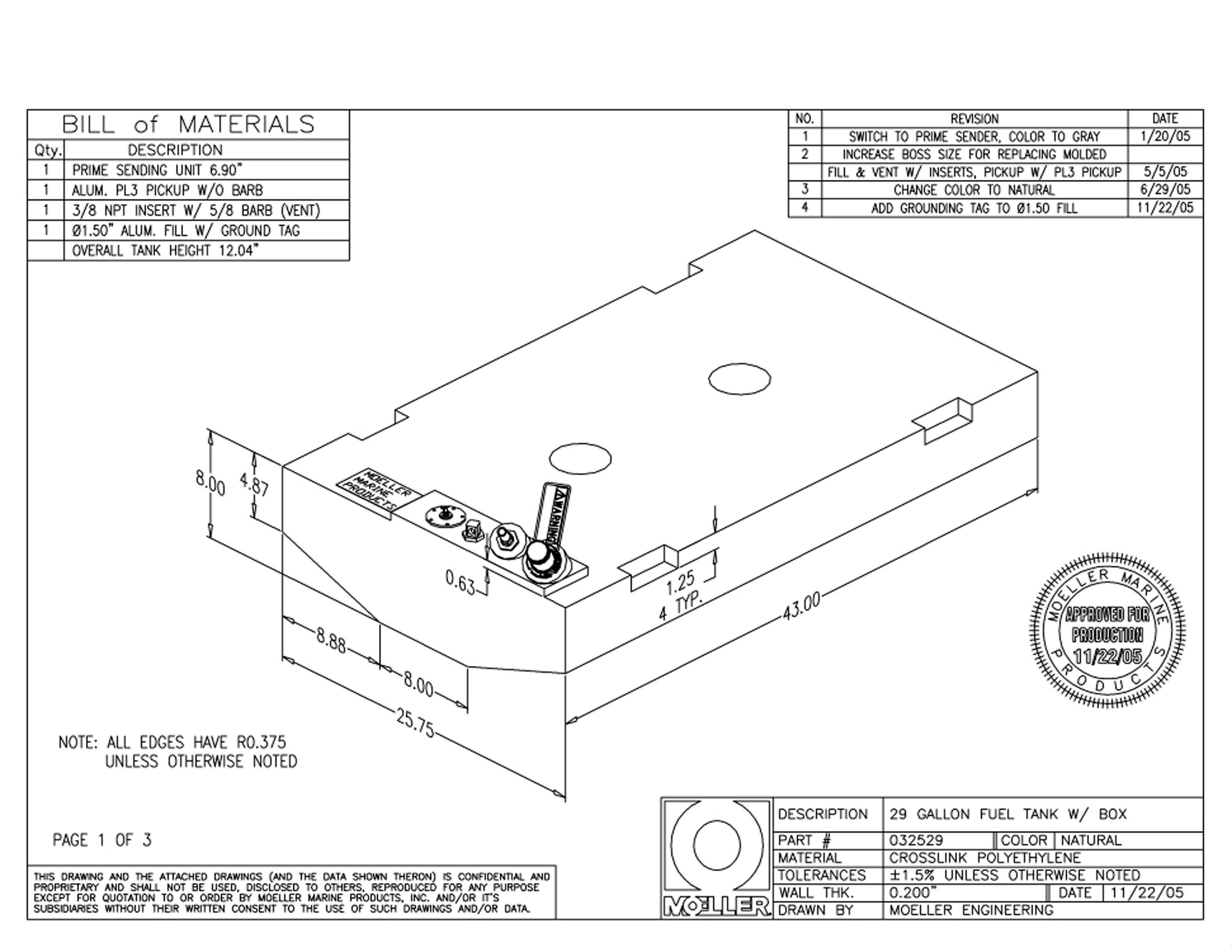Moeller Marine Below Deck Permanent Fuel Tank (29-Gallon, 43'' x 25.75'' x 12.92'')