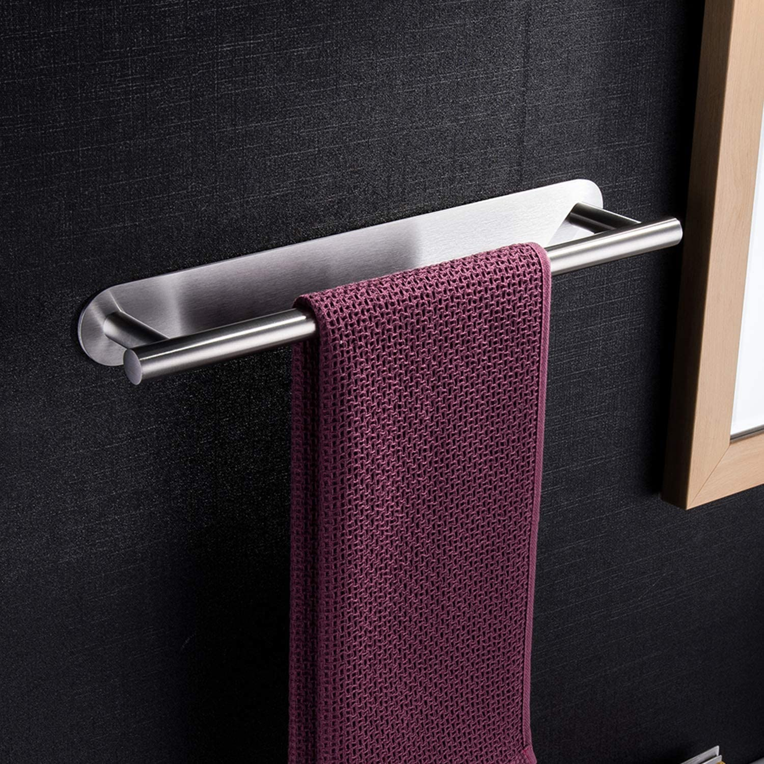 YIGII Towel Bar Self Adhesive - 3M Bathroom Stick Towel Rack/Holder 16-Inch no Drilling, Stainless Steel SUS 304