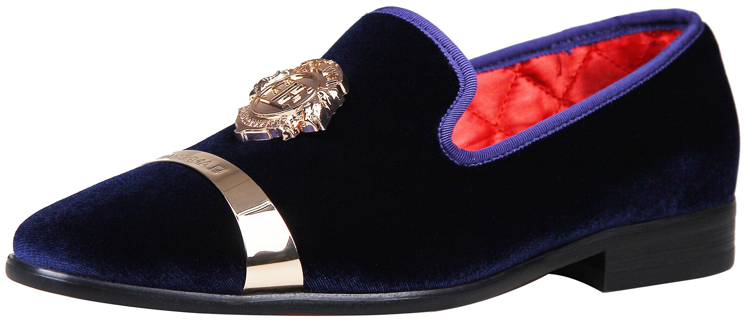 ELANROMAN Men Velvet Dress Shoe with Gold Plate Velvet Loafers Shoes US 10.5 EUR 45 Feet Lenght 300mm Navy
