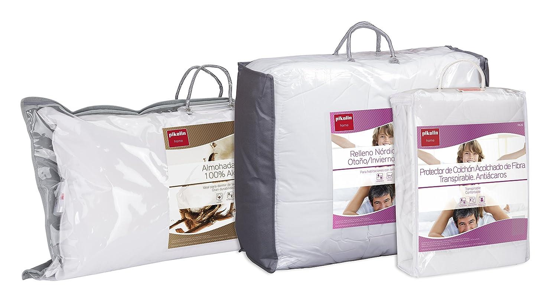 Set de descanso y protección de cama Pikolin Home antiácaros para cama 90 - Protector de colchón acolchado (90 x 190/200 cm), almohada de fibra (40 x 90 cm) ...