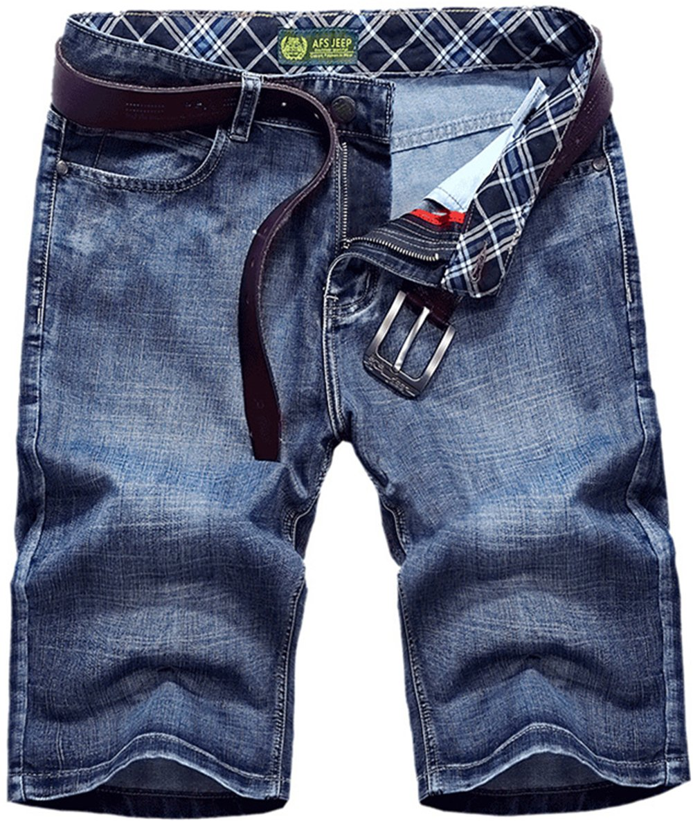 K3K Men's Casual Summer Wear Thin and Soft Jeans Big Pant Straight Denim Shorts