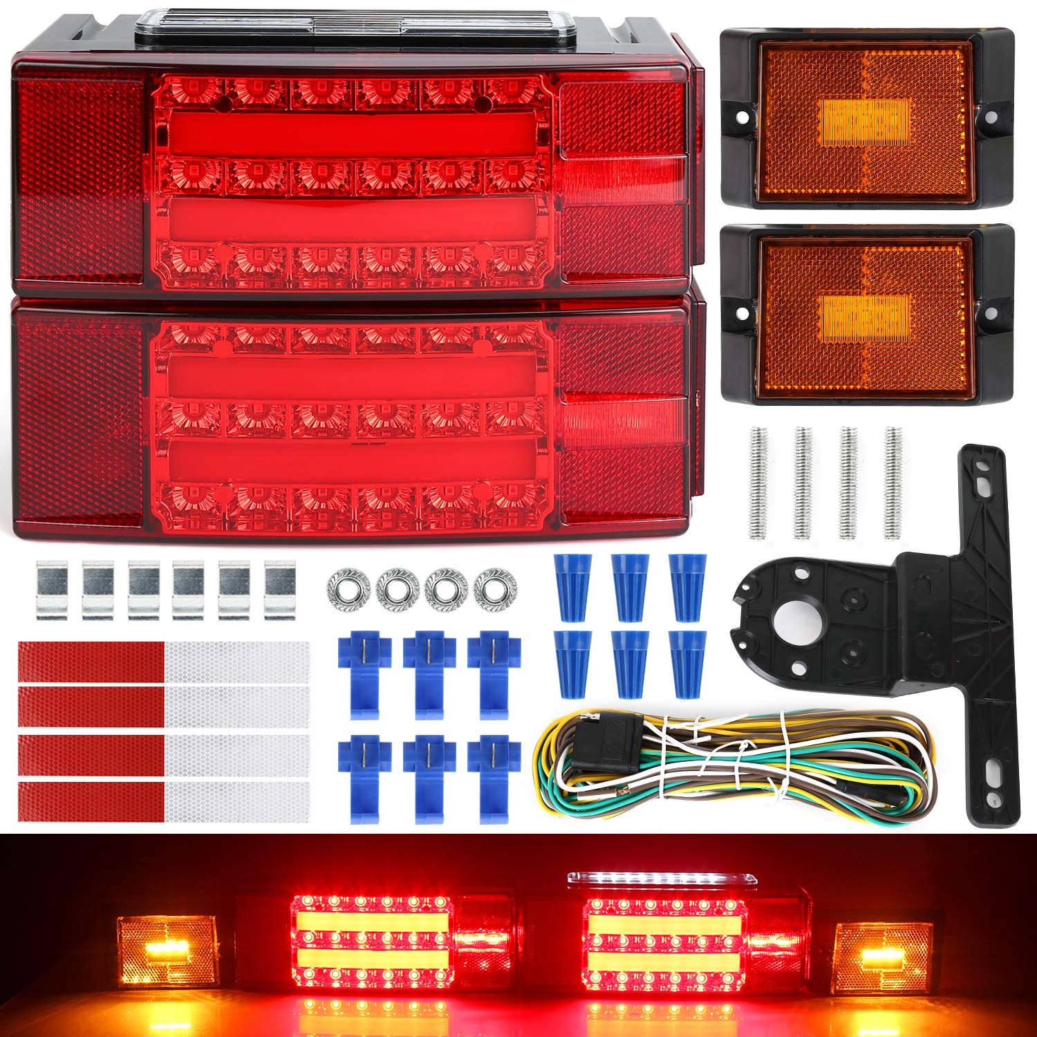 LINKITOM 2019 New Submersible LED Trailer Light Kit, Super Bright Brake Stop Turn Tail License Lights for Camper Truck RV Boat Snowmobile Under 80'' Inch by LINKITOM