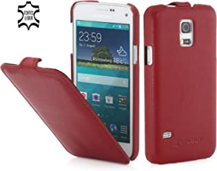 StilGut UltraSlim Case, Custodia in Vera Pelle per Samsung Galaxy S5 Mini, Rosso - Nappa