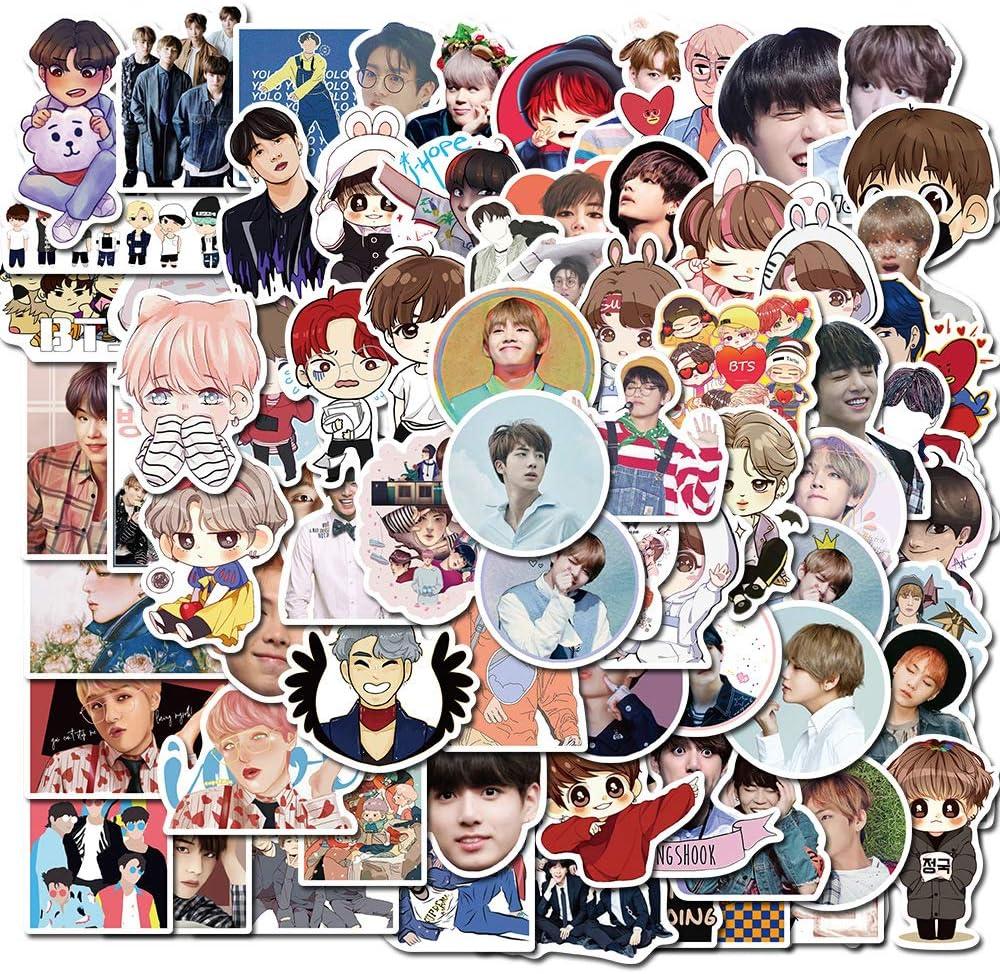 76 PCS Pop Singer BTS Bangtan Boys Stickers for Laptop and Water Bottles,Waterproof Cute Vinyl Music Decal Stickers Pack for Teens, Kids, Girls,Water Bottles, Computer, Hydroflasks,Travel Case(BTS)