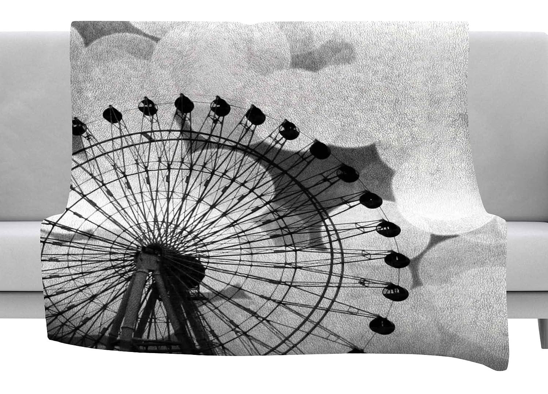 Kess InHouse Sylvia Coomes Ferris Wheel Black White Throw 80 x 60 Fleece Blanket