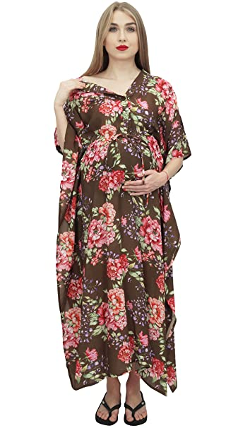 Bimba Vestido Maxi Kaftan de Maternidad Estampado con Cordon y Estampado Marron de la Mama DE