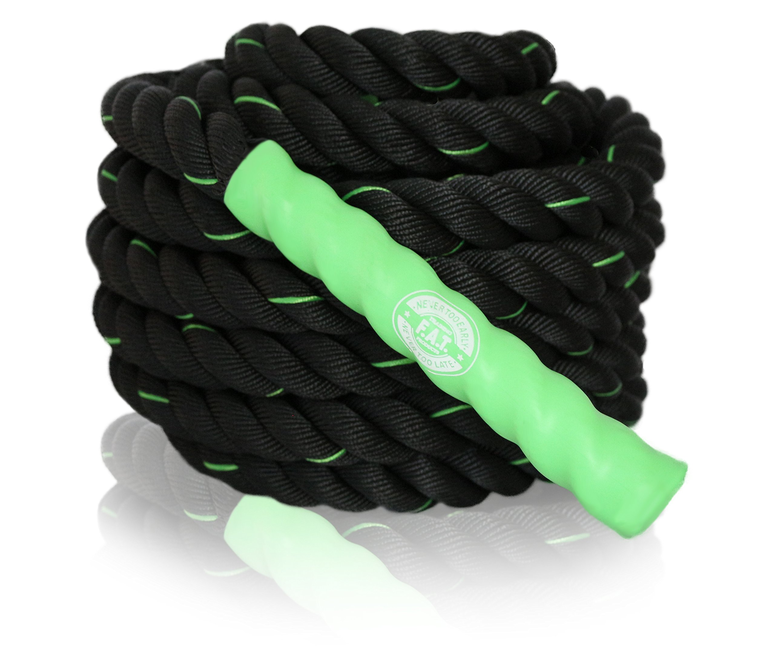 Battle Ropes Fitness | Cardio Exercise Rope Training | Best Gym Workout for Home - 40' feet x 1.5'' inch - Green