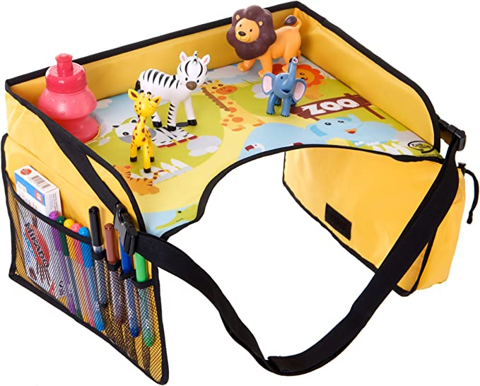 Zinniaya Multifunctional Baby Tray Car Seat Kids Tray Waterproof Folding Table Snack Tray Organizer Bag Children Play Travel Tray