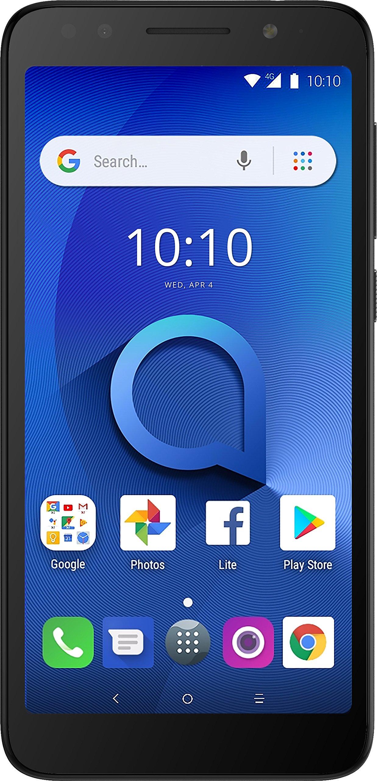Alcatel 1X Unlocked Smartphone (AT&T/T-Mobile) - 5.3'' 18:9 Display, Android Oreo (Go Edition), 8MP Rear Camera, 4G LTE - Dark Gray (U.S. Warranty)