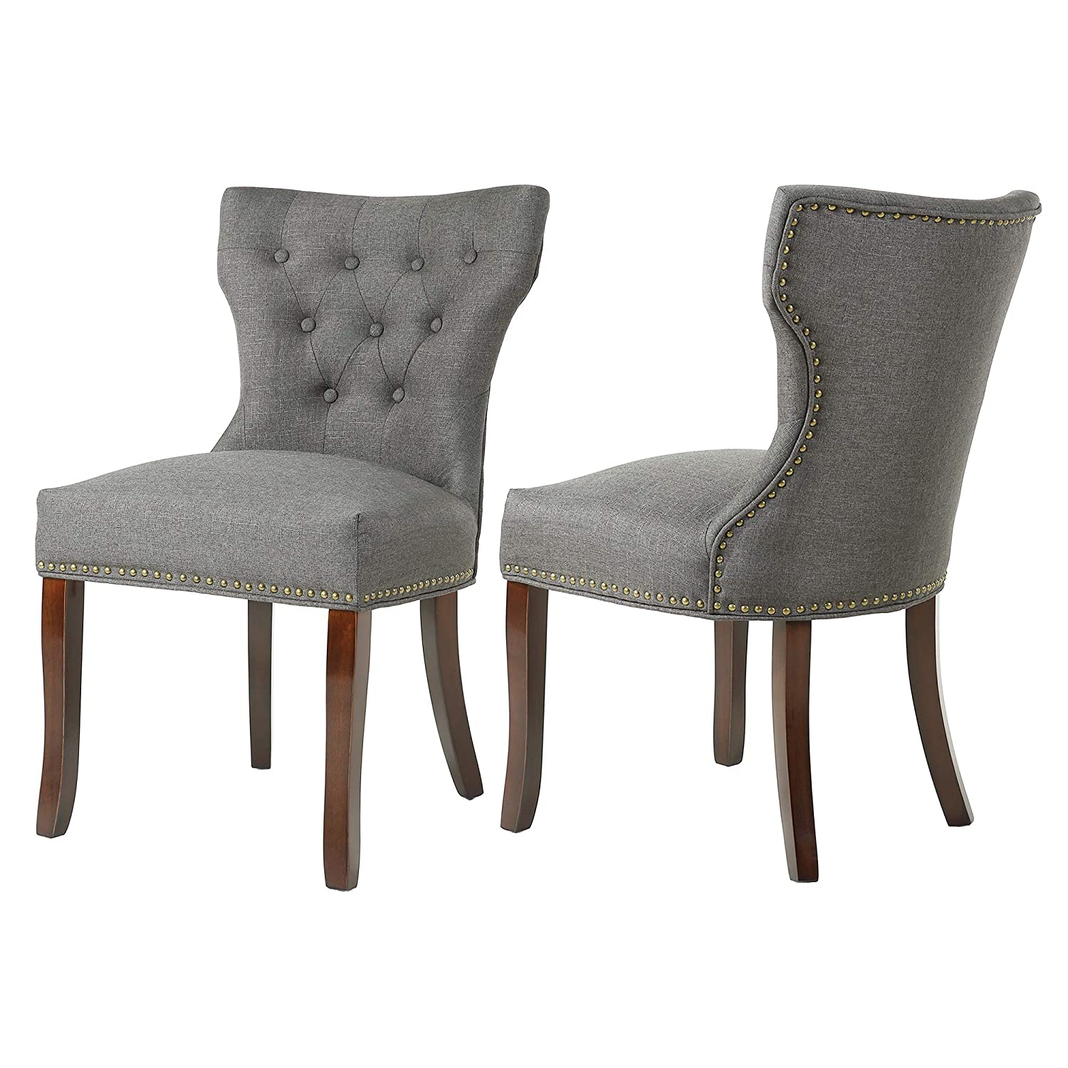 DAGONHIL Fabric Dining/Accent Chairs (Set of 2) with Brown Solid Wooden Legs,Nailed Trim, (Charcoal Gray)
