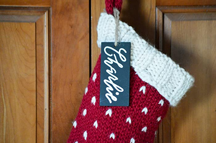 personalized fair isle knit christmas stocking customize calligraphy initial or name tag choose yarn