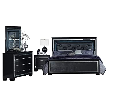 Amazoncom Algiers 4pc Bedroom Set Queen Led Bed Dresser Mirror