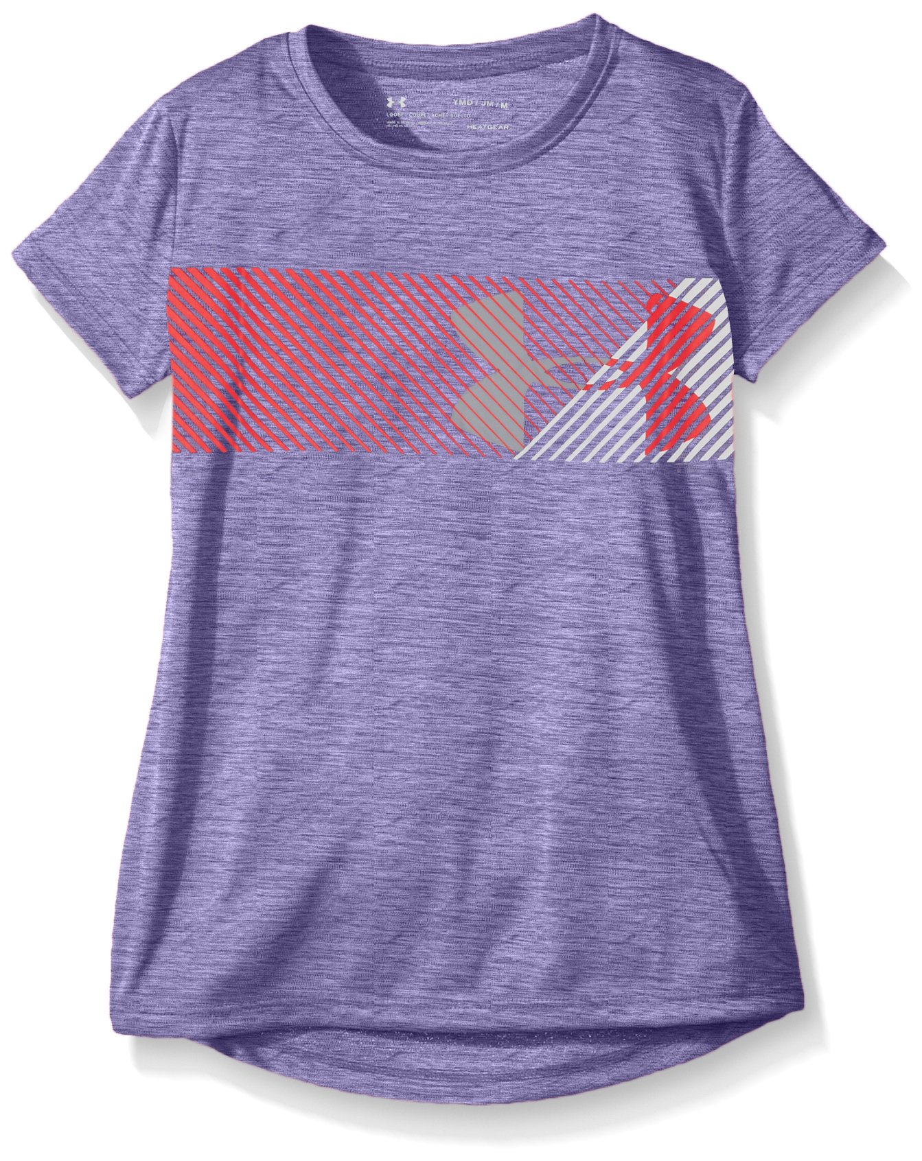 Under Armour Girls Hybrid Big Logo Tee, Constellation Purple /White, Youth Small
