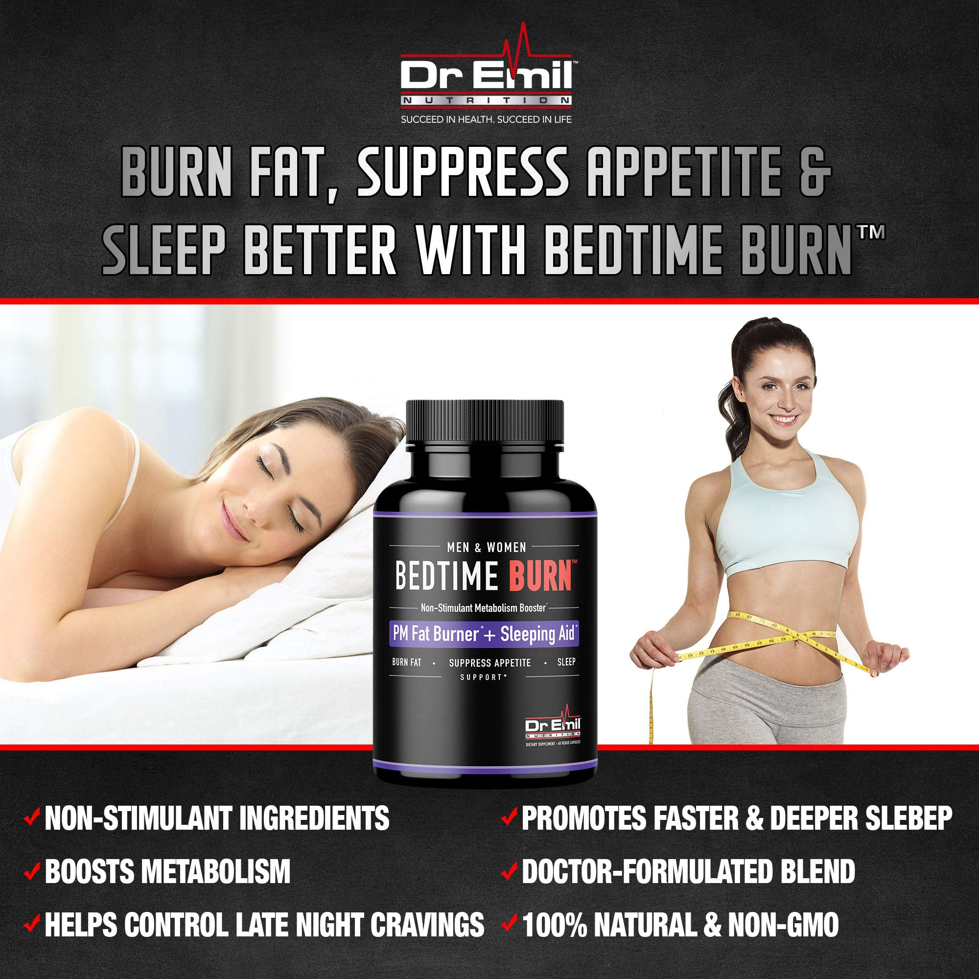 Dr. Emil - PM Fat Burner, Sleep Aid and Night Time Appetite Suppressant - Stimulant-Free Weight Loss Pills and Metabolism Booster for Men and Women (60 Vegan Diet Pills) by DR EMIL NUTRITION (Image #2)