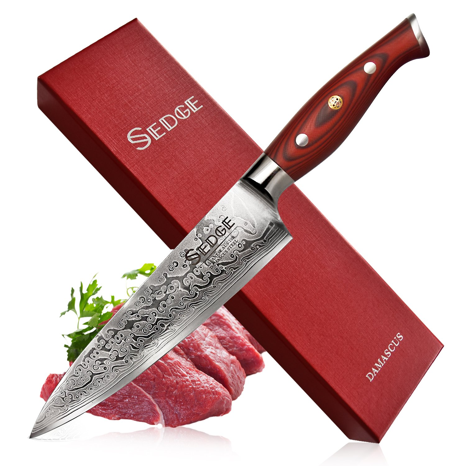 Sedge Chef knife - Japanese Damascus AUS-10V High Carbon Steel - Pro Chefs Knife 8 Inch With Non-Slip Ergonomic G10 Handle - SD-S Series